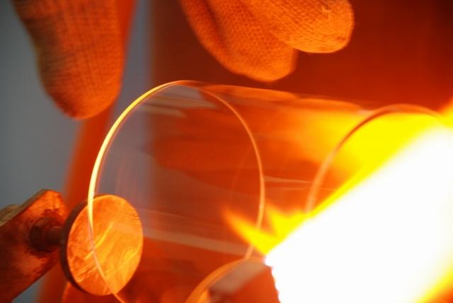 Verresatine, façonnage du verre à chaud